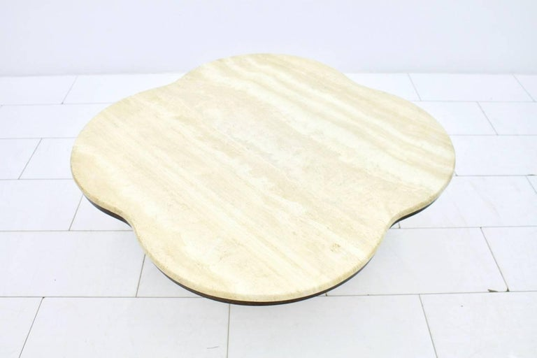 Travertine Cloud Coffee Table with Wood Base, 1970s For Sale 1