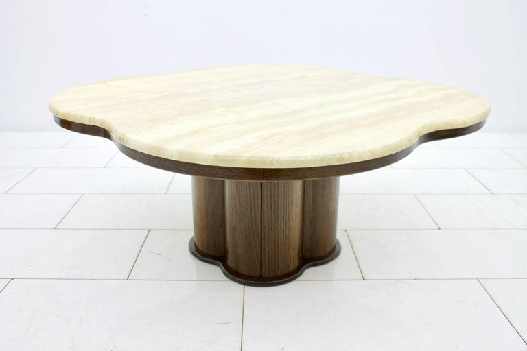 Travertine Cloud Coffee Table with Wood Base, 1970s For Sale 5