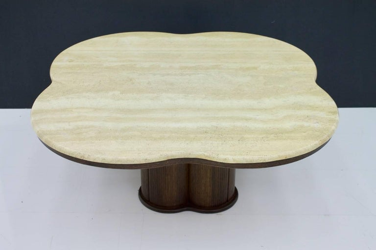 Travertine Cloud Coffee Table with Wood Base, 1970s For Sale 8
