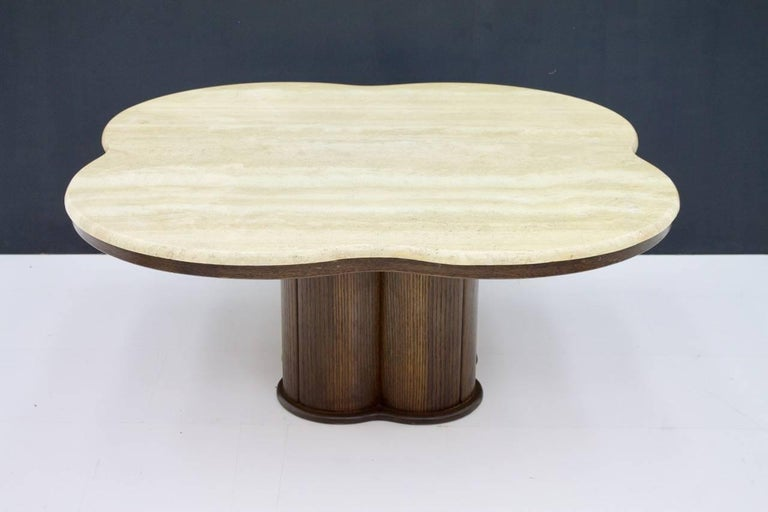 European Travertine Cloud Coffee Table with Wood Base, 1970s For Sale
