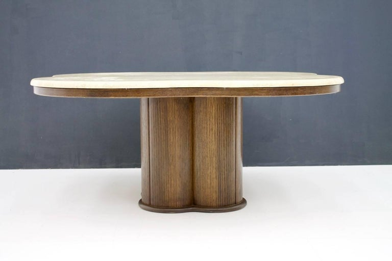 Travertine Cloud Coffee Table with Wood Base, 1970s In Good Condition For Sale In Frankfurt / Dreieich, DE