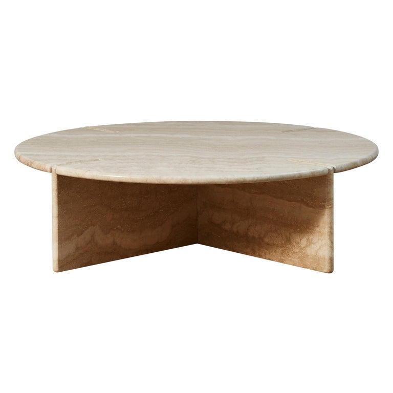 Travertine Cocktail Table by Studio Glustin For Sale