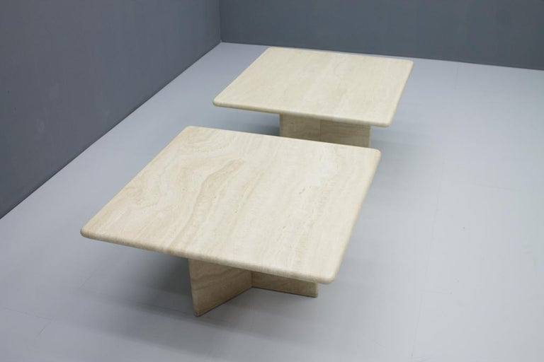 Mid-Century Modern Travertine Coffee or Side Table, Italy, 1970s For Sale