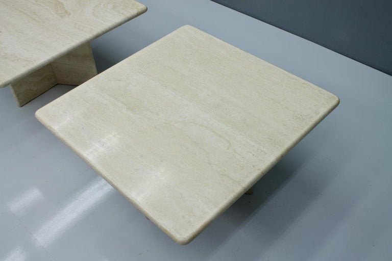 Polished Travertine Coffee or Side Table, Italy, 1970s For Sale