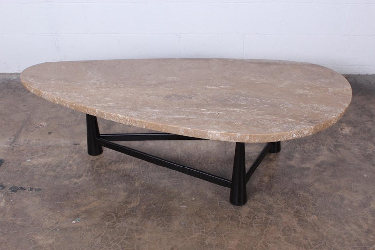 Travertine Coffee Table by Edward Wormley for Dunbar For Sale 1