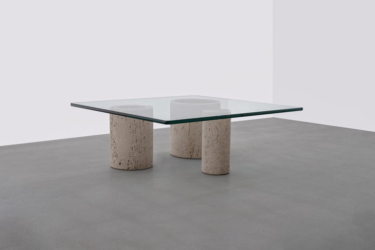 Mid-Century Modern Travertine Coffee Table by Massimo Vignelli for Casigliani For Sale