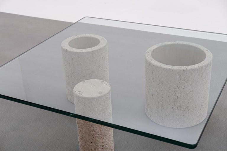 Italian Travertine Coffee Table by Massimo Vignelli for Casigliani For Sale