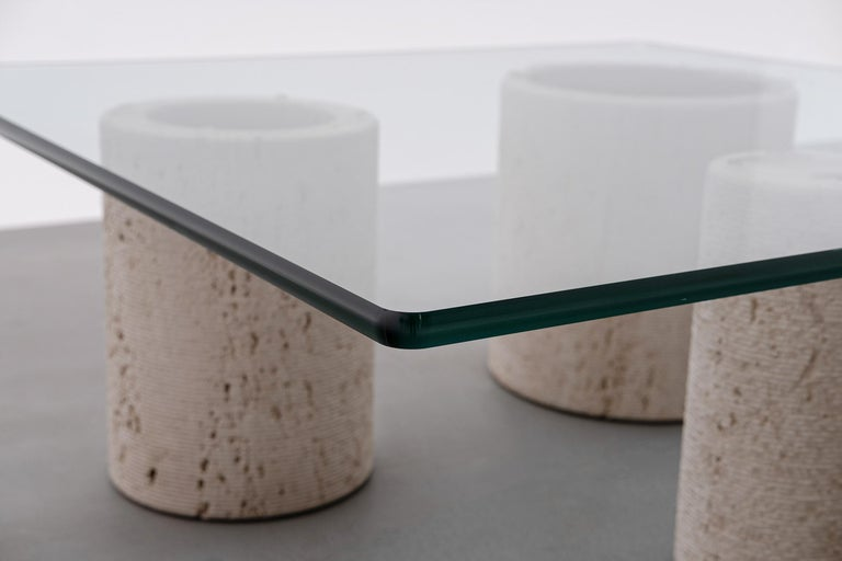 Travertine Coffee Table by Massimo Vignelli for Casigliani In Excellent Condition For Sale In Rotterdam, NL