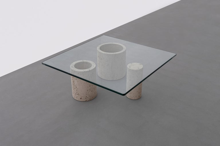 Glass Travertine Coffee Table by Massimo Vignelli for Casigliani For Sale
