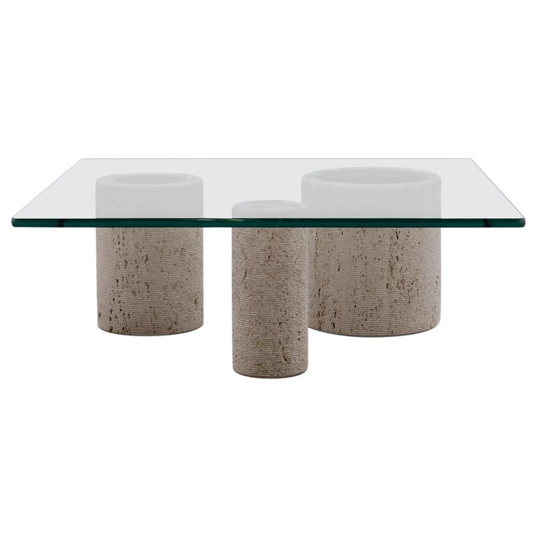 Travertine Coffee Table by Massimo Vignelli for Casigliani For Sale