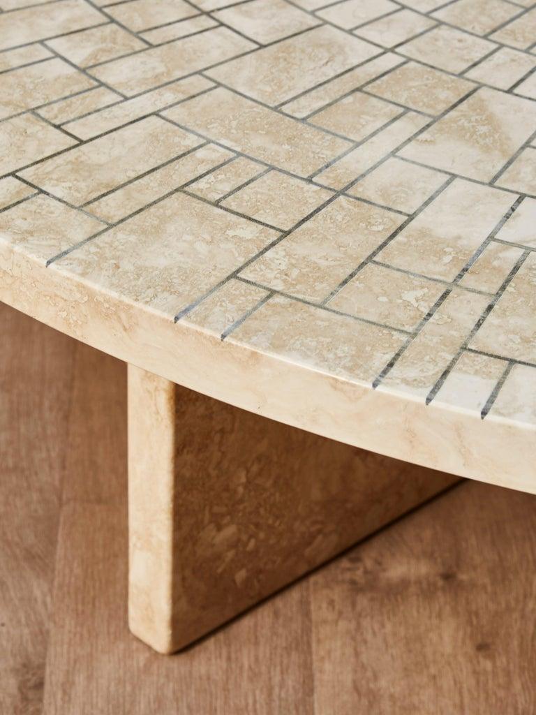Mid-Century Modern Travertine Coffee Table by Studio Glustin For Sale