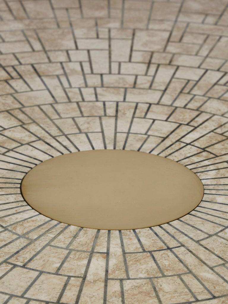 French Travertine Coffee Table by Studio Glustin For Sale