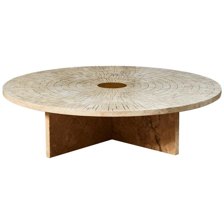 Travertine Coffee Table by Studio Glustin For Sale