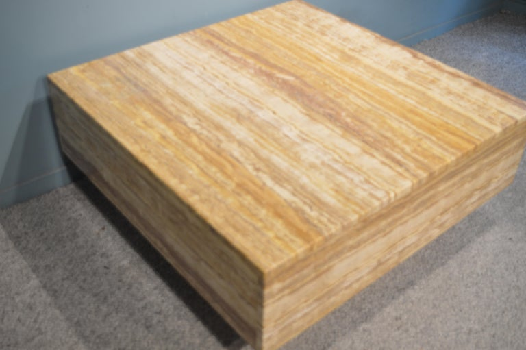 Very decorative coffee table in yellow sienna travertine. French work, circa 1970. Very massive and quality table.