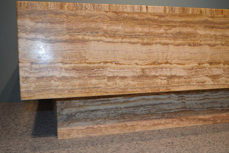 Late 20th Century Travertine Coffee Table For Sale