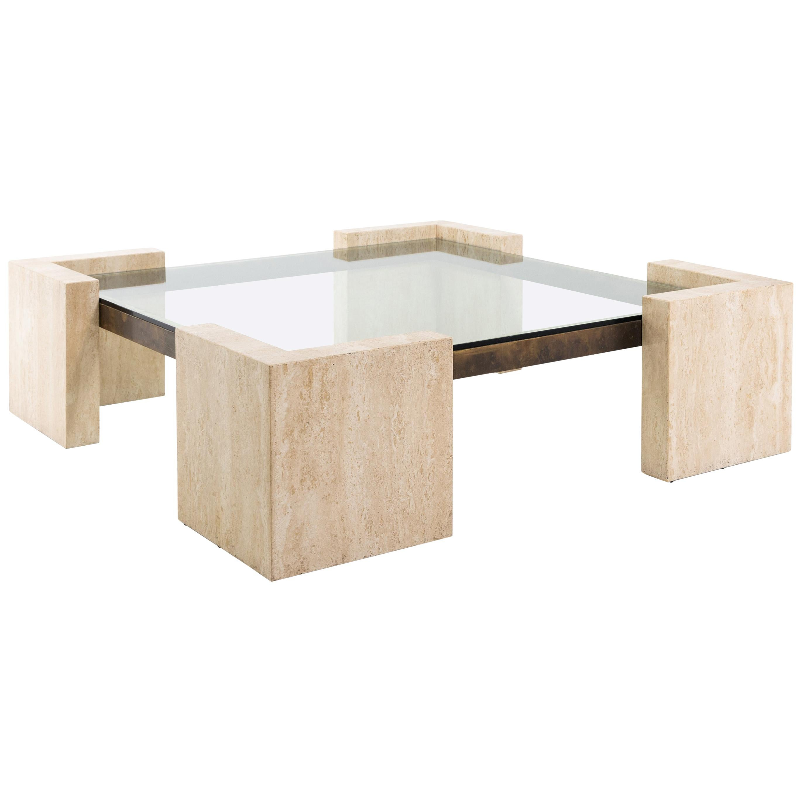 Travertine Coffee Table, Italy, 1970s