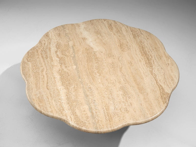 Mid-Century Modern Travertine Coffee Table with Floral Shaped Top For Sale