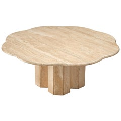 Travertine Coffee Table with Floral Shaped Top