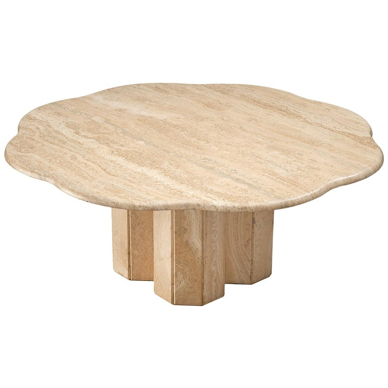 Travertine Coffee Table with Floral Shaped Top For Sale