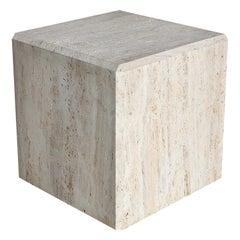 Travertine Cube Side Table, circa 1980