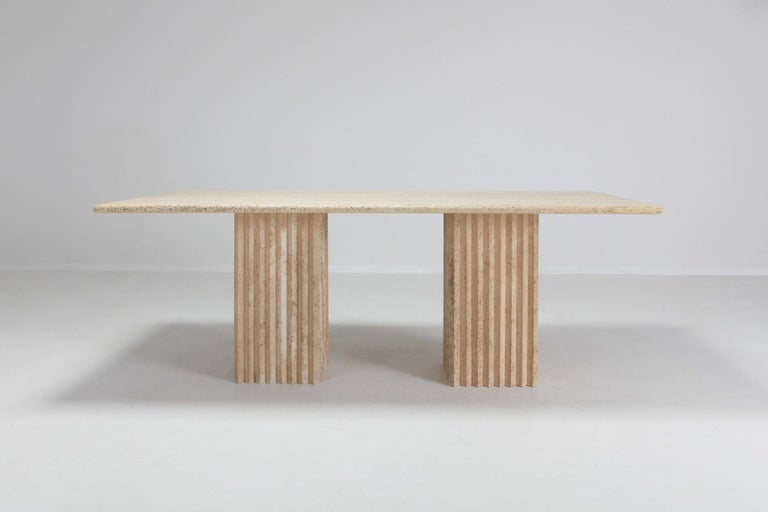 Post-Modern Travertine Dining Table in the Style of Carlo Scarpa For Sale