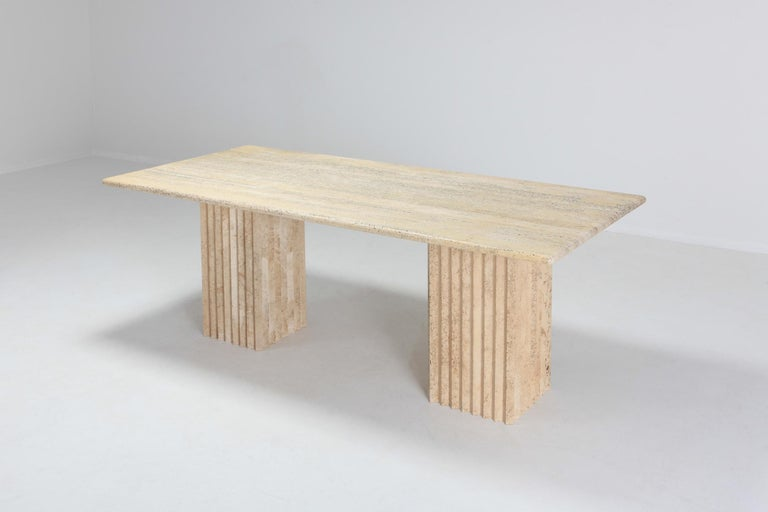 European Travertine Dining Table in the Style of Carlo Scarpa For Sale
