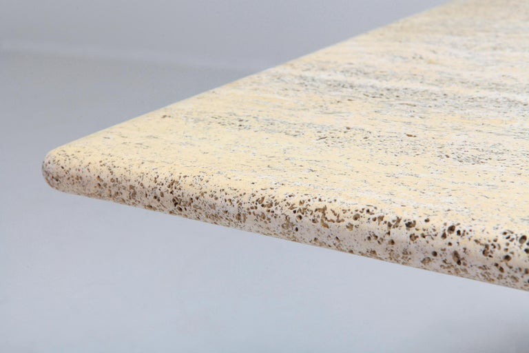 20th Century Travertine Dining Table in the Style of Carlo Scarpa For Sale