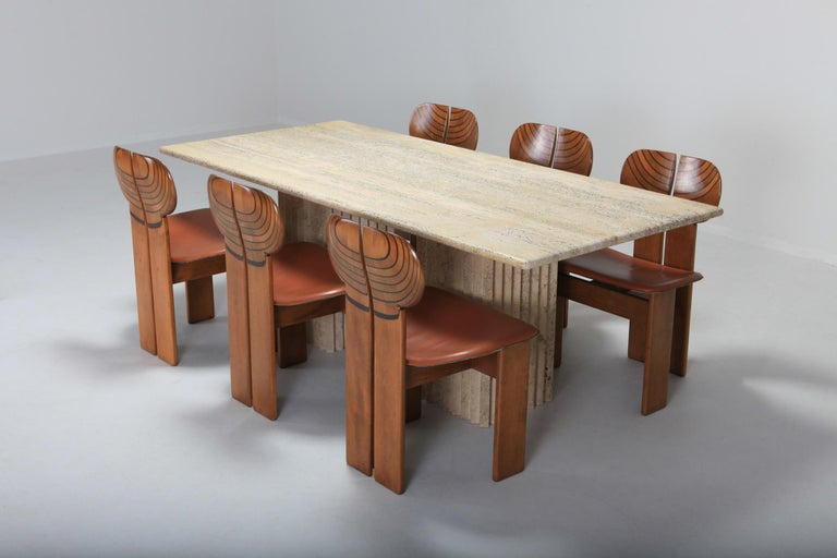 Travertine Dining Table in the Style of Carlo Scarpa For Sale 3