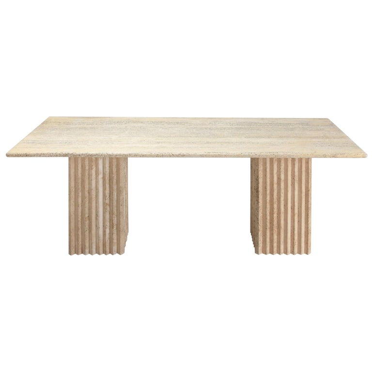 Travertine Dining Table in the Style of Carlo Scarpa For Sale