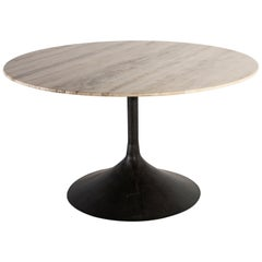 Travertine Dining Table with Knoll Edge and Tulip Base