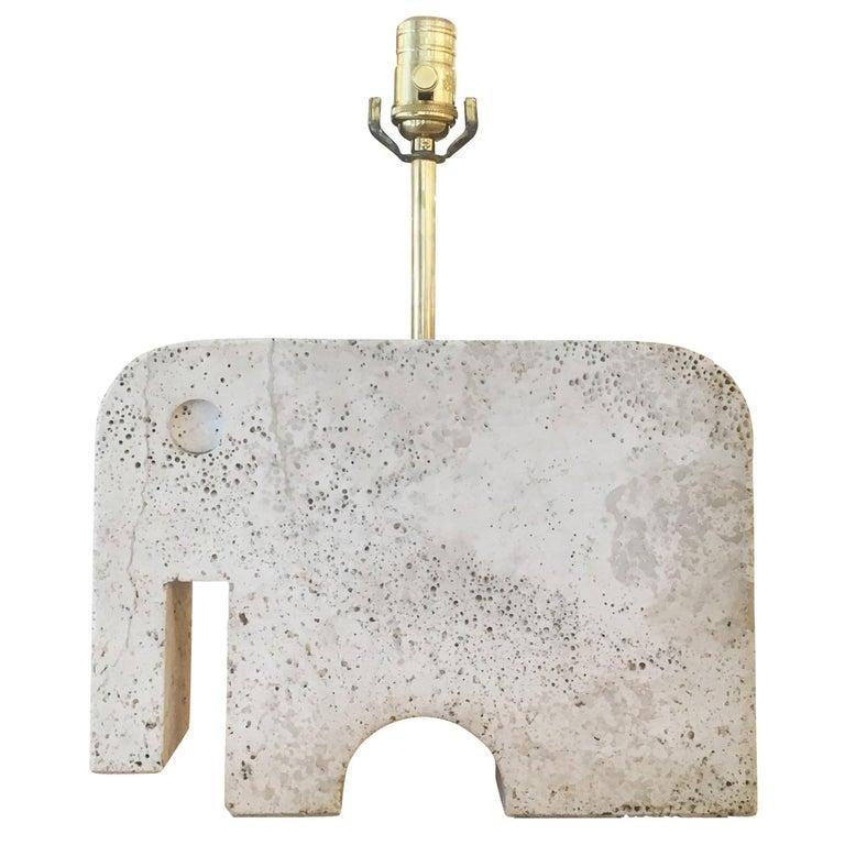 Travertine Elephant Table Lamp