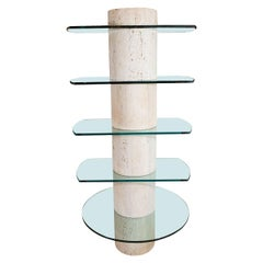 Travertine Etagere with Five Glass Shelves
