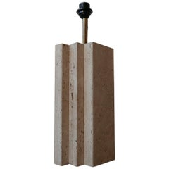 Travertine Geometric Midcentury Belgium Table Lamp