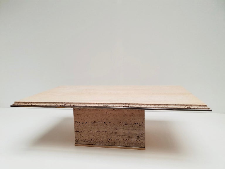 Travertine Gilt Brass Coffee Table, Italy, 1970s For Sale 6