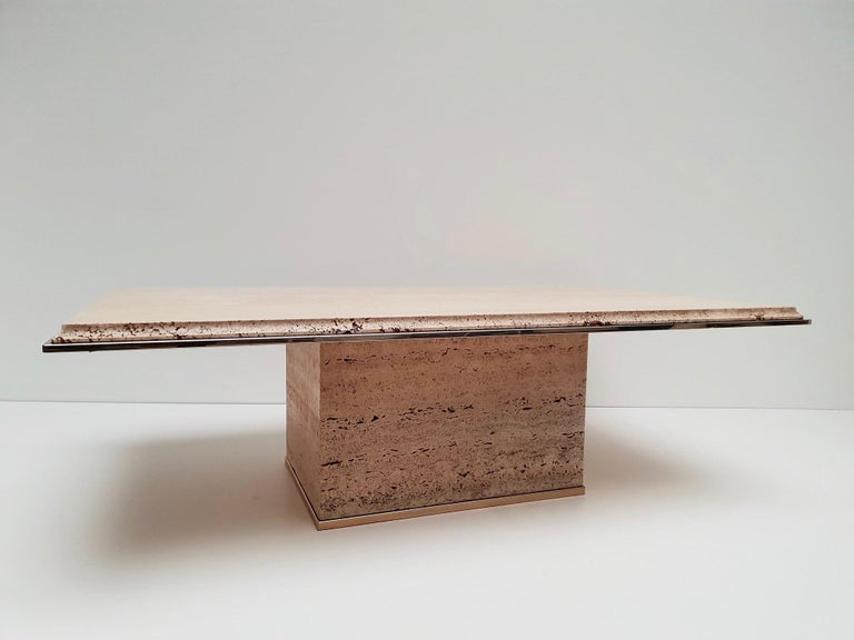Travertine Gilt Brass Coffee Table, Italy, 1970s For Sale 7
