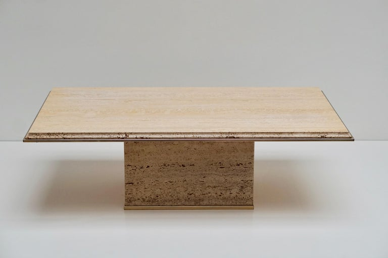 Travertine Gilt Brass Coffee Table, Italy, 1970s For Sale 8