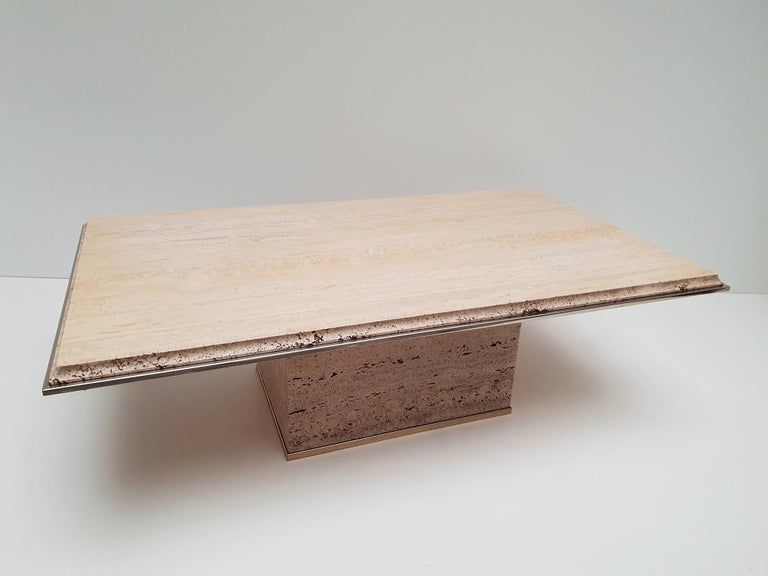 Mid-Century Modern Travertine Gilt Brass Coffee Table, Italy, 1970s For Sale