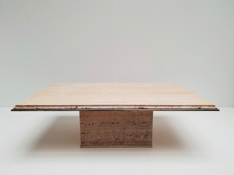 20th Century Travertine Gilt Brass Coffee Table, Italy, 1970s For Sale