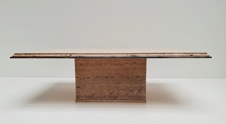 Travertine Gilt Brass Coffee Table, Italy, 1970s For Sale 1