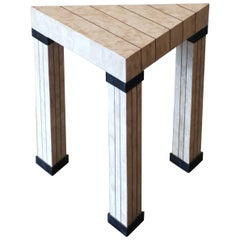Travertine Inlaid Brass and Marble Triangular Postmodern Side Table