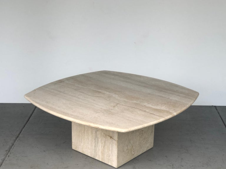 Late 20th Century Travertine Italian Coffee Table Style of Angelo Mangiarotti, 1970s For Sale
