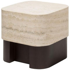 Travertine Large Side Table