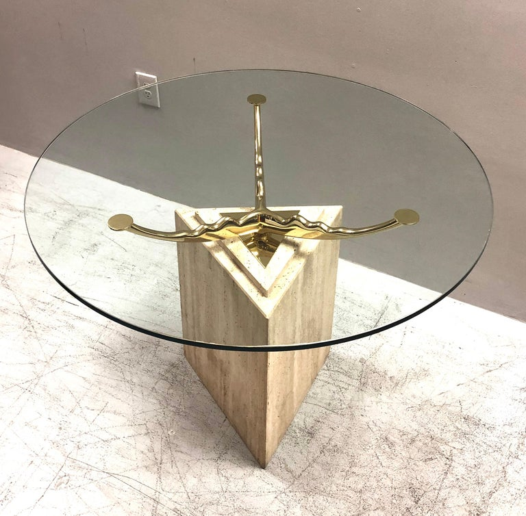 Travertine Marble and Brass Dining Table For Sale 5