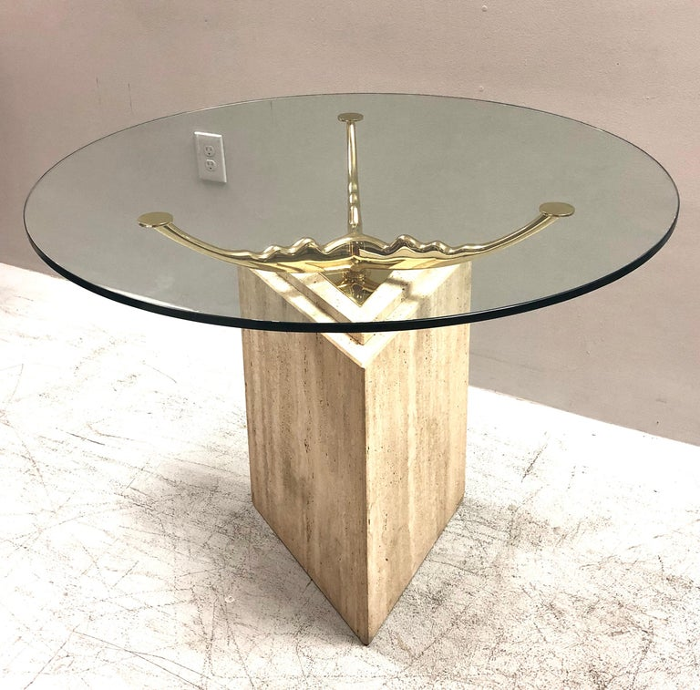Travertine Marble and Brass Dining Table For Sale 3