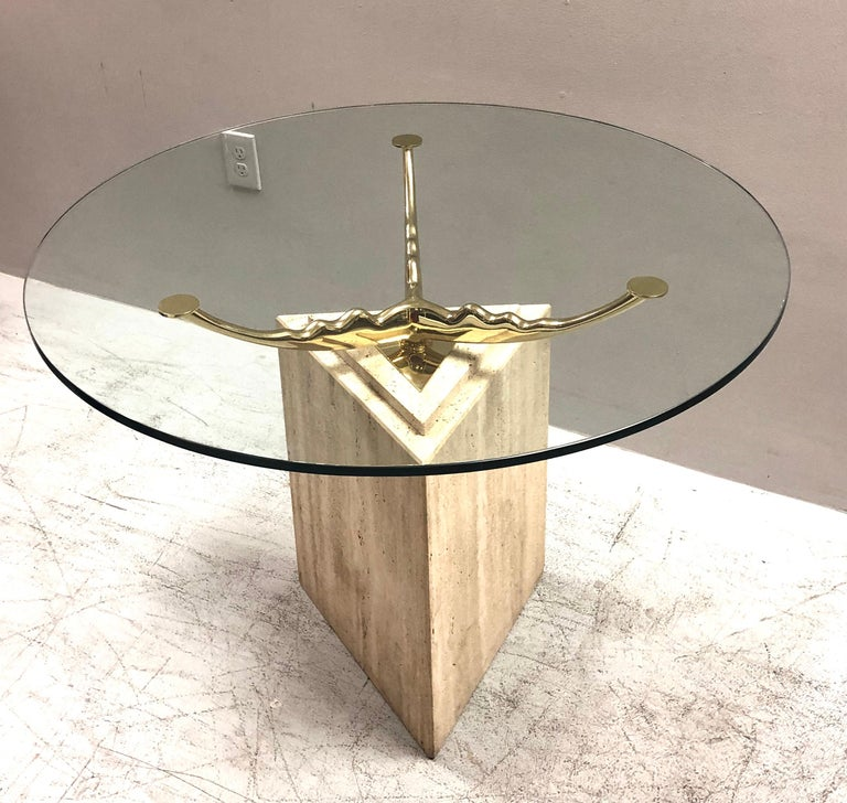 Travertine Marble and Brass Dining Table For Sale 4