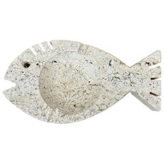 Travertine Marble Ashtray Fish Attributed to Fratelli Mannelli, Italy, 1970s