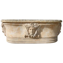 Travertine Marble Bath with Carved Heads, 20th Century