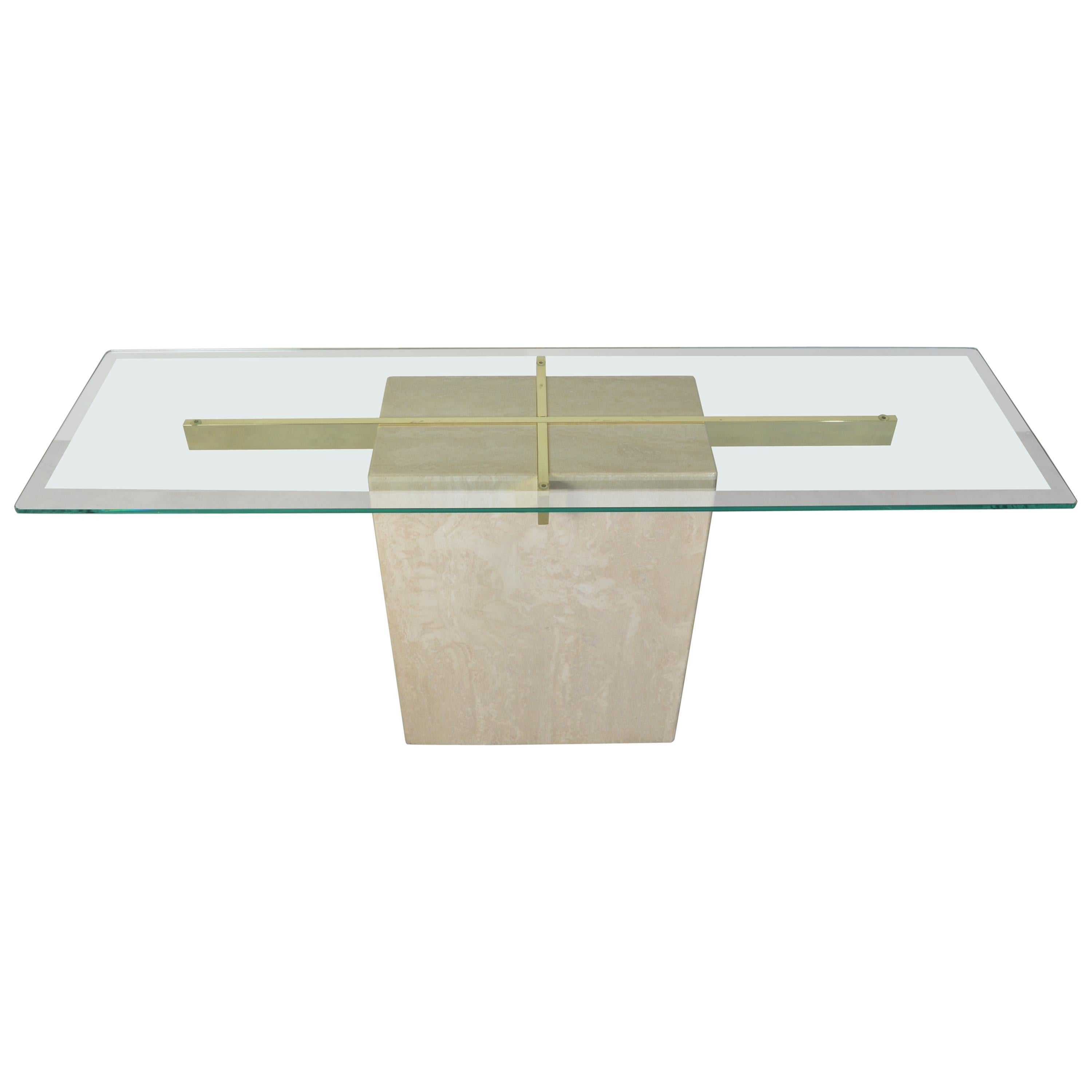 Travertine Marble Brass and Glass Console/Hallway or Entryway Table by Artedi