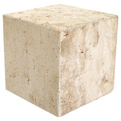 Travertine Marble Cube Side Table or Coffee Table