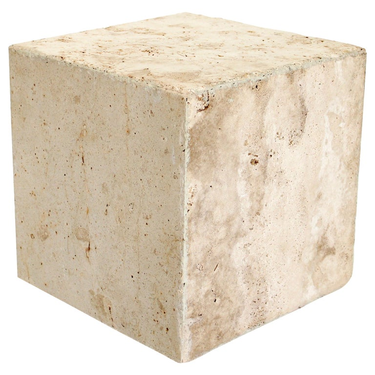 Travertine Marble Cube Side Table or Coffee Table For Sale